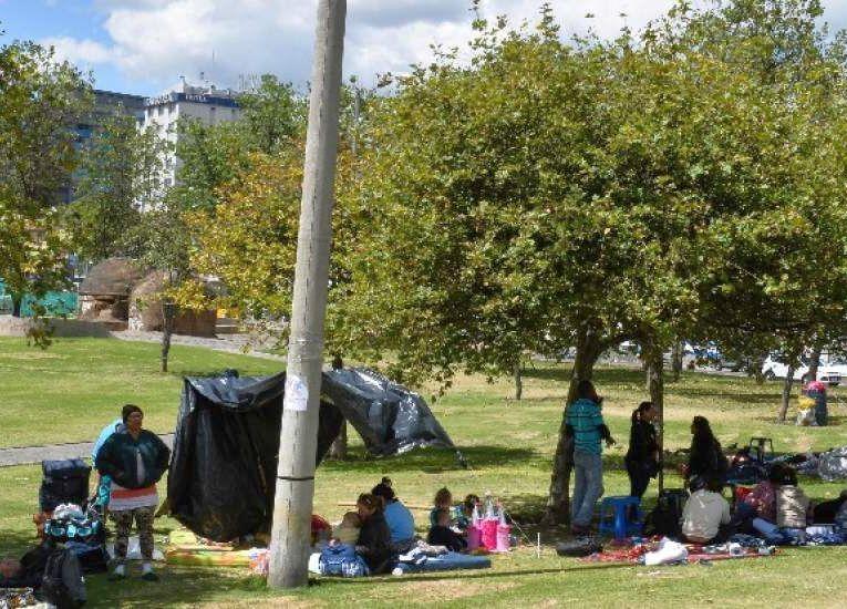 Los cubanos acamparon por varios días en el parque El Arbolito en Quito, para pedir a la embajada mexicana que los reciba en su país. (Foto: El Telégrafo)