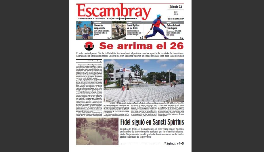 Escambray, portada, 26 de julio, Sancti Spíritus en 26, Sancti Spíritus