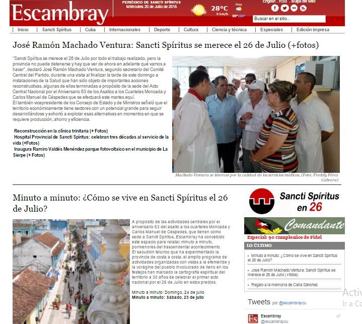 Escambray, portada, Sancti Spíritus, Sancti Spíritus en 26, Cuba, 26 de Julio, Moncada