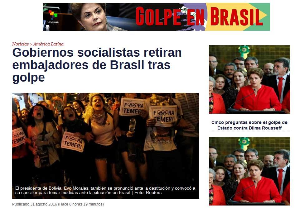 Varios países de América Latina respondieron con acciones diplomáticas a la destitución de la presidenta electa democráticamente Dilma Rousseff.