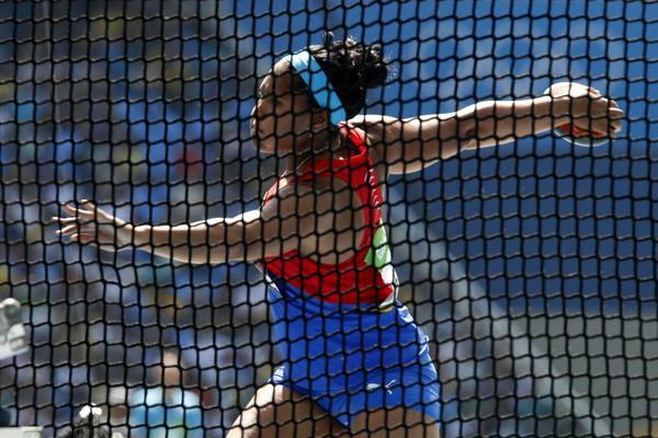 Denia Caballero ganó medalla de bronce en el lanzamiento del disco femenino. (Foto: ACN)