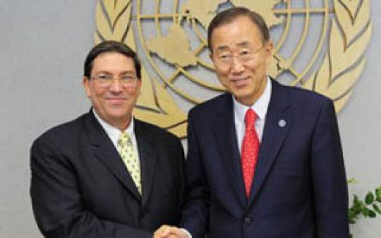 Ban Ki-moon recibió en la sede de la ONU al canciller cubano, Bruno Rodríguez.
