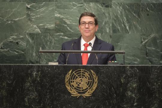 Bruno Rodríguez llamó en la Asamblea General de la ONU a fundar una cultura de paz y justicia y a respetar la Carta de la organización.