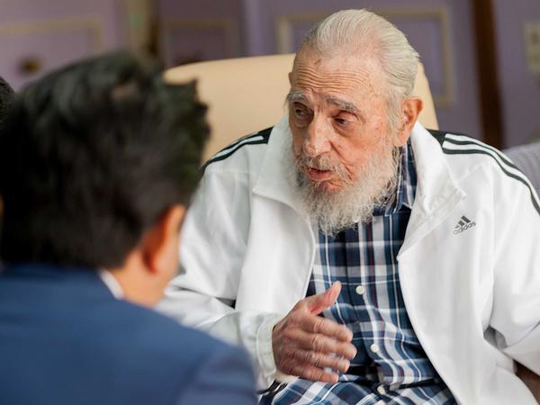 Fidel y Abe se refirieron a las centenarias relaciones entre Cuba y Japón.  (Foto: Alex Castro)