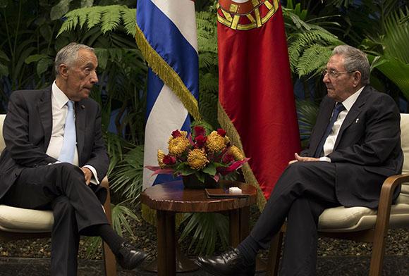 Raúl Castro Ruz recibe a Marcelo Rebelo de Sousa, presidente de Portugal. (Foto: Ismael Francisco/ Cubadebate)