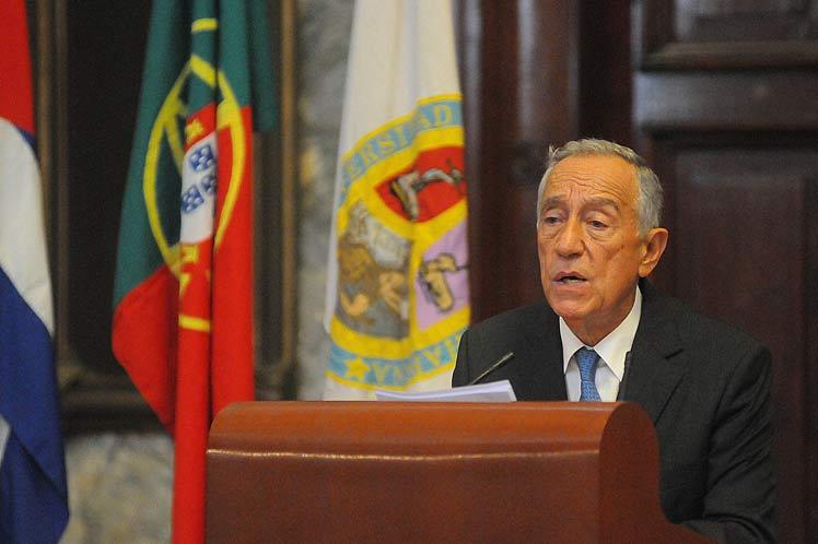 Durante su última jornada en Cuba, el presidente portugués ofreció una conferencia magistral en la Universidad de La Habana.