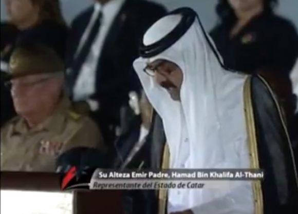Hamad bin Jalifa expresó sus condolencias a la familia del Comandante y a todo el pueblo cubano.