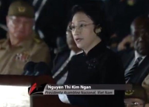 En este sagrado momento reafirmamos nuestra firme e invariable solidaridad combativa con los comunistas cubanos y el hermano pueblo de la isla, apuntó la vicepresidenta de Vietnam.