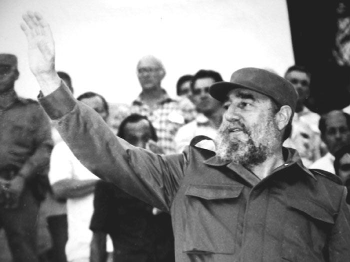 El Comandante en Jefe Fidel Castro durante su visita a Sancti Spíritus en 1986.