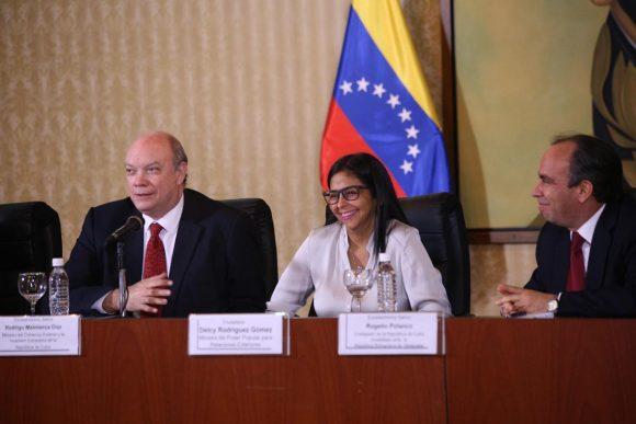 Momento de la XVII Comisión Intergubernamental de Cooperación Cuba-Venezuela. (Foto: @vencancilleria)