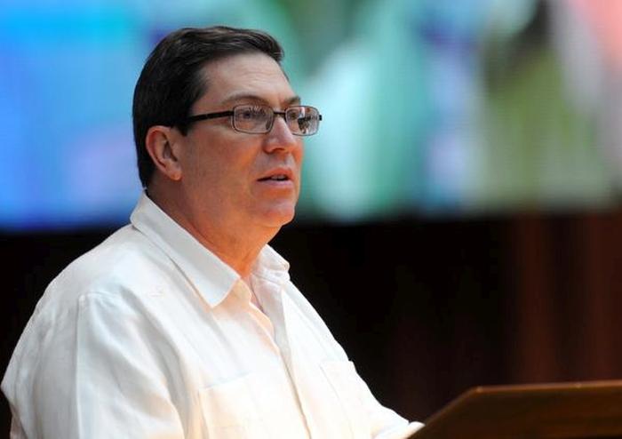 El Canciller cubano dio lectura a la Declaración de los gobiernos de Cuba y Venezuela. (Foto: ACN)