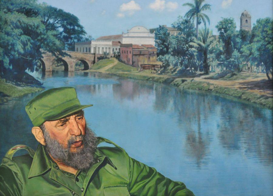 Obra pictórica del artista espirituano José Perdomo, inspirada en la visita del líder histórico de la Revolución cubana en 1986.