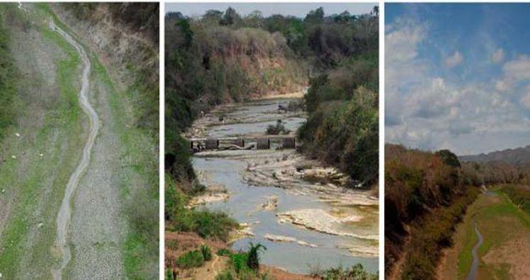 De izquierda a derecha el estado que presentan los ríos Taguasco, Zaza e Higuanojo.
