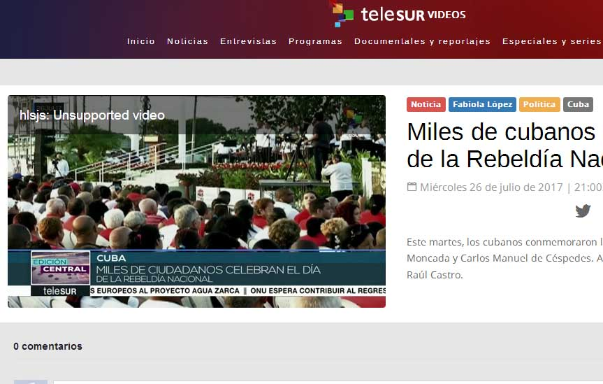 Cuba, 26 de Julio, repercusión, TeleSUR