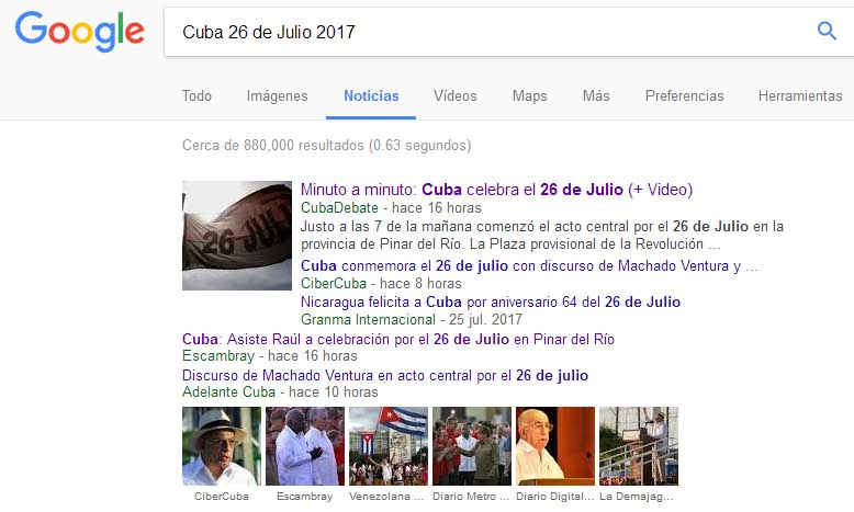 Cuba, 26 de Julio, repercusión, medios digitales