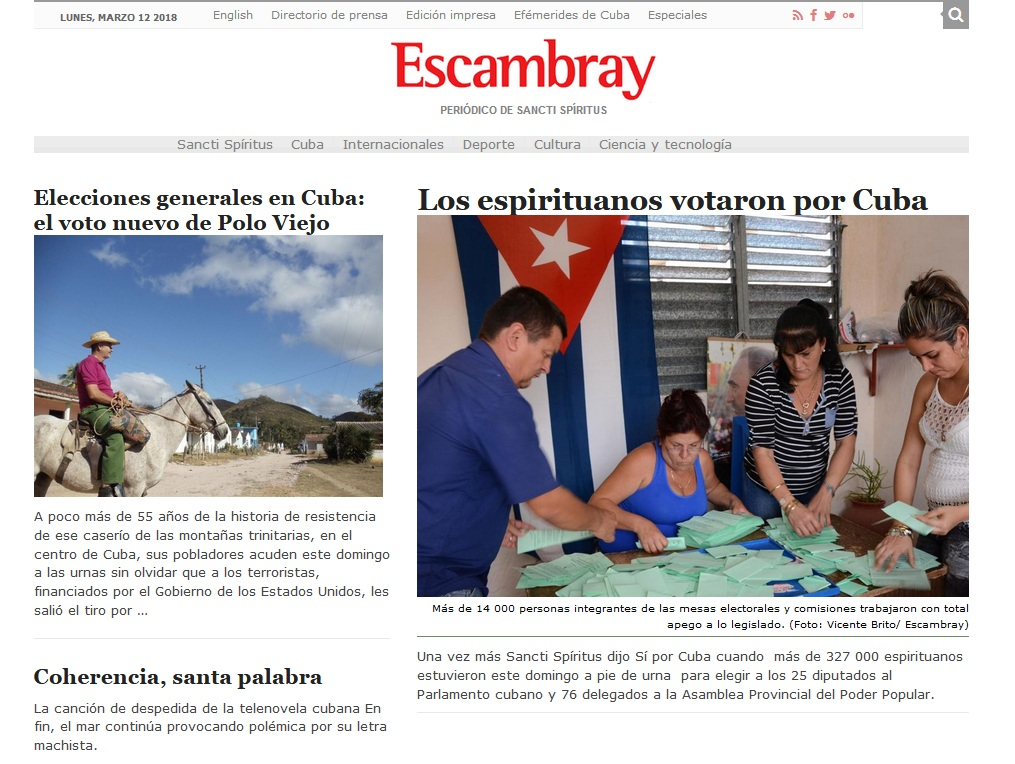 periódico escambray, diseño, web, Internet