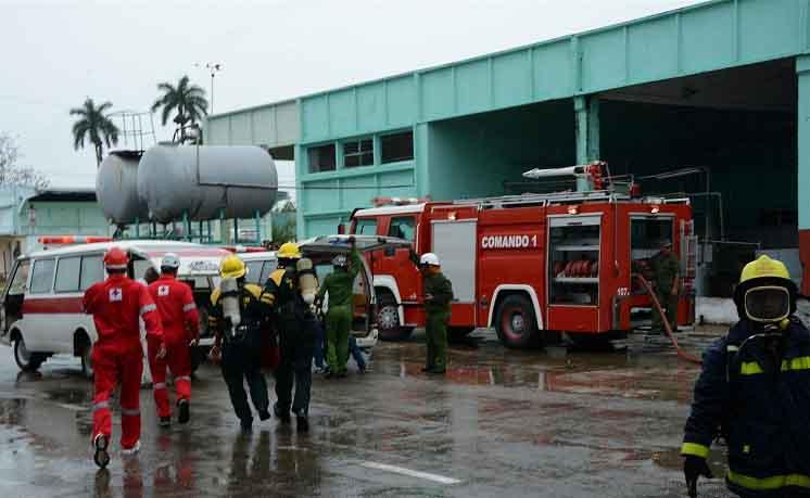 Meteoro 2018, defensa civil, Pasteurizadora, bomberos, Sancti Spíritus