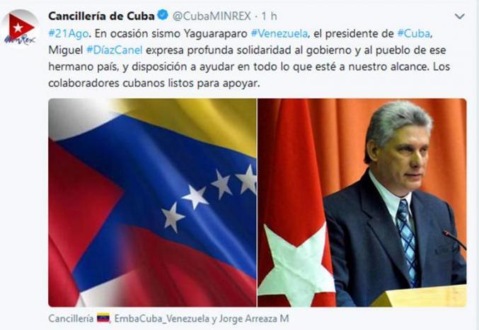 cuba, venezuela, trinidad y tobago, sismo, terremoto, miguel diaz-canel, presidente de cuba