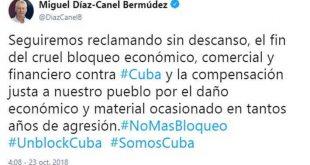 cuba, bloqueo de eeuu a cuba, miguel diaz-canel, presidente de cuba, twitter