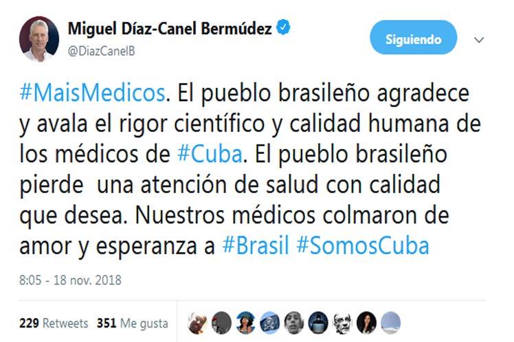 Díaz-Canel, Brasil, Cuba, Más Médicos