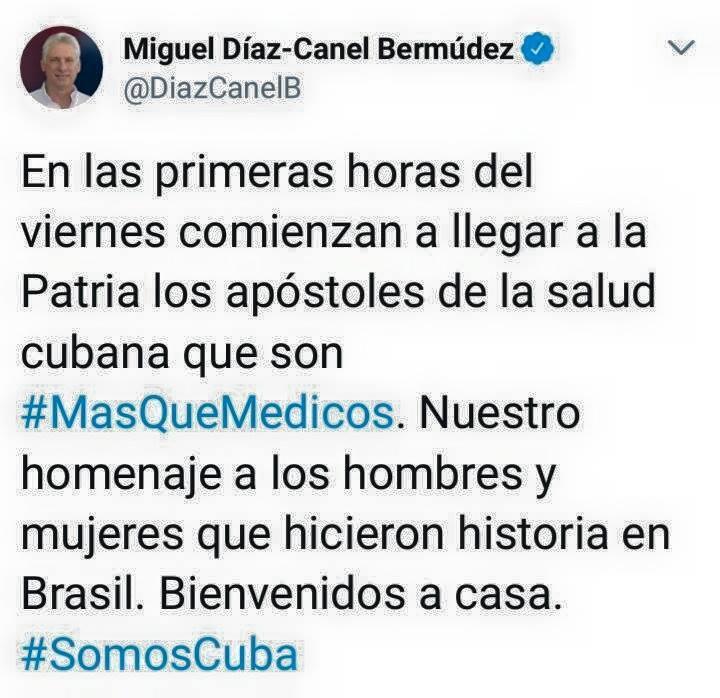 cuba, brasil, mas medicos, medicos cubanos, miguel diaz-canel, presidente de cuba