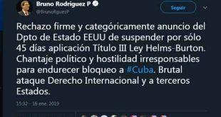Cuba, Bloqueo, Minrex, Bruno Rodríguez