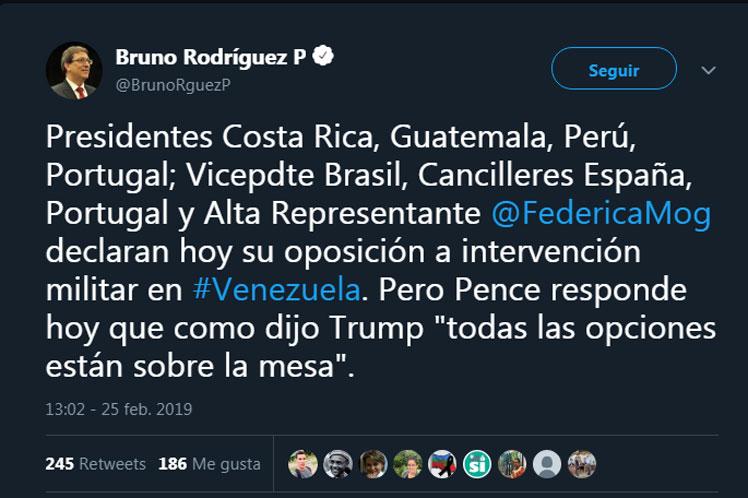 Cuba criticó el empeño de EE.UU. en amenazar a Venezuela.