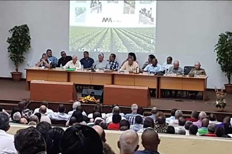 Díaz-Canel encabezó el debate realizado en el Ministerio de la Agricultura. (Foto: Twitter @MINAGCuba)