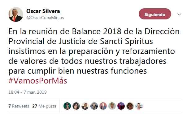 Tuit publicado por el ministro de Justicia desde el Balance del sector en Sancti Spíritus.