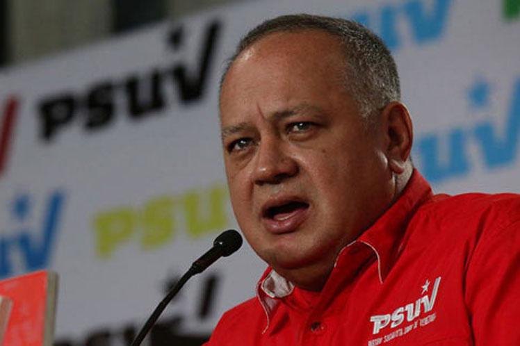 """'El imperialismo y sus voceros siguen amenazando a la Patria"""", aseguró Cabello. (Foto: PL)"""
