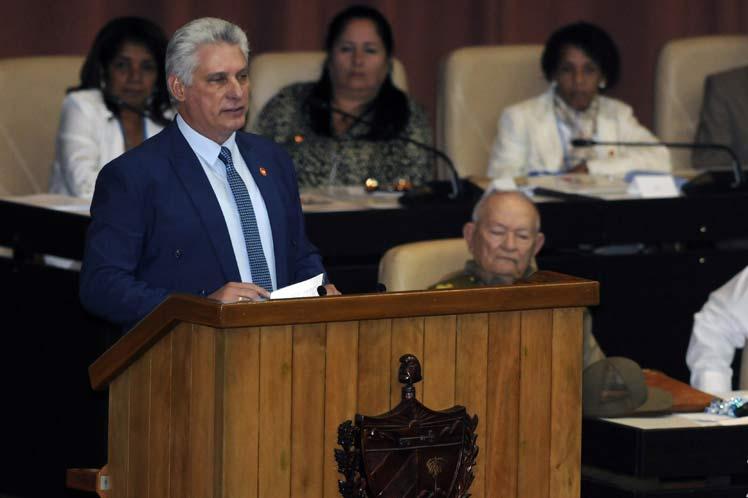 El presidente cubano clausuró la tercera sesión extraordinaria de la Asamblea Nacional del Poder Popular. (Foto: PL)