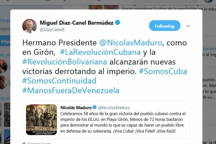 Maduro y Díaz-Canel intercambiaron mensajes con motivo del aniversario 58 de la victoria de Playa Girón. (Foto: PL)