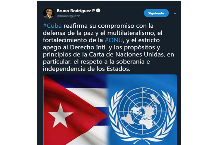 El canciller cubano señaló que Cuba reafirma su irrestricto apego a los propósitos y principios de la Carta de la ONU. (Foto: PL)