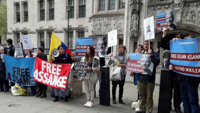 Assange, londres, manifestacion