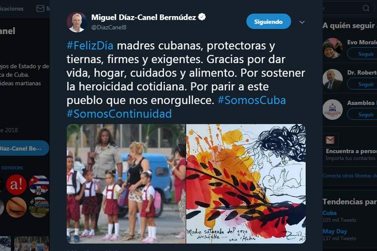A través de twitter, Díaz-Canel se sumó al homenaje a las amdres cubanas. (Foto: PL)