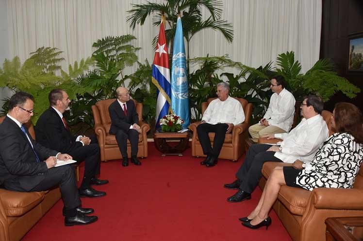 Díaz-Canel y Amano intercambiaron acerca de la favorable ejecución de los proyectos de cooperación. (Foto: Estudios Revolución)