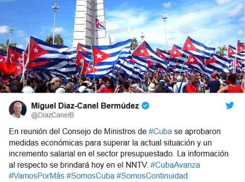 Díaz-Canel anticipó la información a través de su cuenta de Twitter.