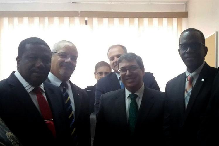 El encuentro tuvo lugar en el contexto de la visita oficial que realiza el canciller cubano a la región del Caribe.
