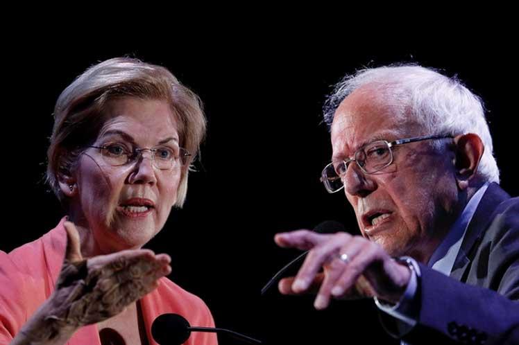Warren y Sanders han estado todo el tiempo entre los líderes del grupo de más de 20 candidatos demócratas. (Foto: PL)