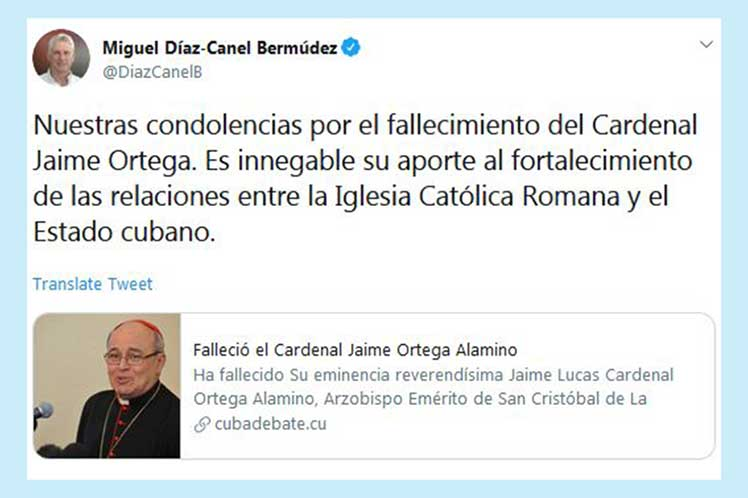 El presidente cubano reconoció el aporte del cardenal Ortega al fortalecimiento de las relaciones del Estado y la Iglesia.