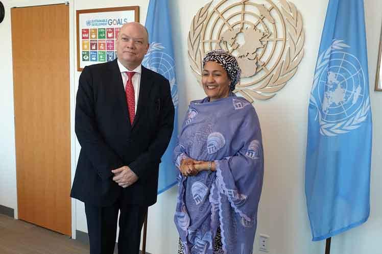 Rodrigo Malmierca se reunió con la secretaria general adjunta de la ONU, Amina Mohammed. (Foto: PL)