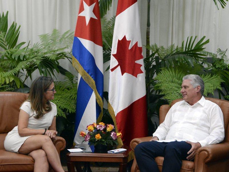 Díaz-Canel agradeció el tradicional apoyo de Canadá a la resolución  de la ONU contra el bloqueo a Cuba. (Foto: Estudios Revolución)