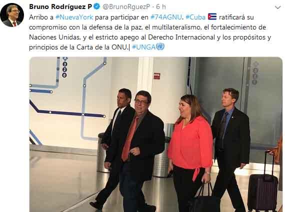 A través de su cuenta en la red social Twitter, Bruno Rodríguez confirmó su arribo a Nueva York.