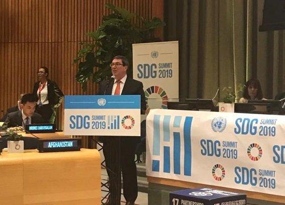 El canciller cubano intervino en el foro político de alto nivel sobre  los Objetivos de Desarrollo Sostenible. (Foto: Twitter @BrunoRguezP)