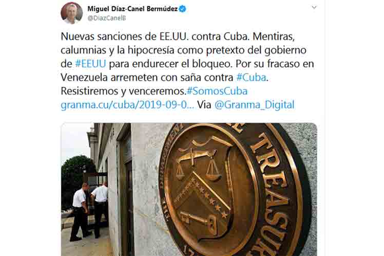 'Lo que más afecta al pueblo cubano es el bloqueo; política fracasada y rechazada por la comunidad internacional', aseguró Díaz-Canel. (Foto: PL)
