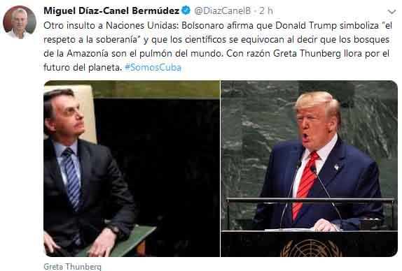 'Son abanderados  del fascismo' y su ignoracia desluce la política internacional con su  retórica, apuntó Díaz-Canel.