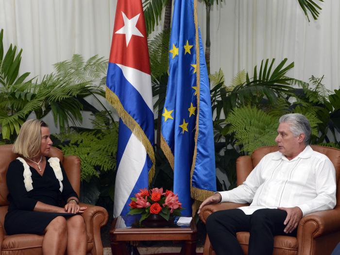 Díaz-Canel y Mogherini dialogaron sobre temas bilaterlas y otros de la agenda internacional. (Foto: Estudios Revolución)