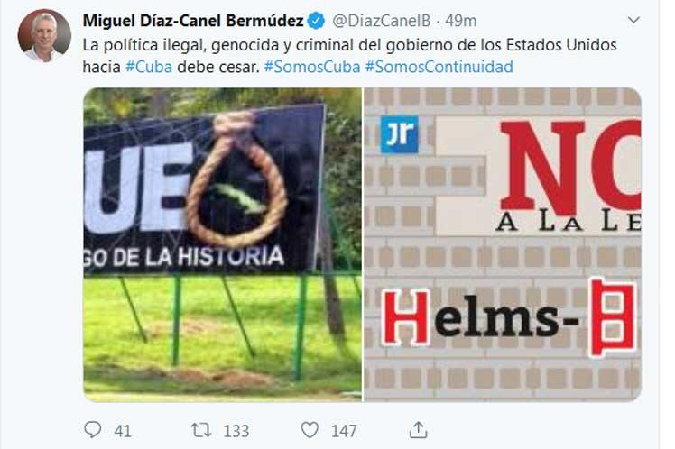 El presidente cubano se pronunció contra ilegal política del Gobierno de Estados Unidos a través de la red social Twitter. (Foto: PL)