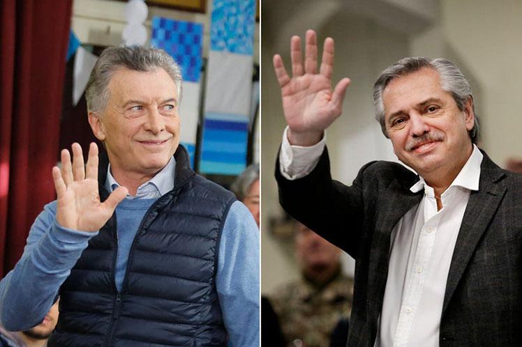El presidente-candidato Mauricio Macri y el aspirante por el Frente de Todos, Alberto Fernández, resultan los candidatos con mayores opciones de triunfo. (Foto: PL)