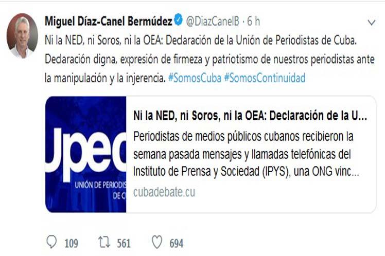 El mandatario cubano calificó como digno el pronunciamiento de la Upec.
